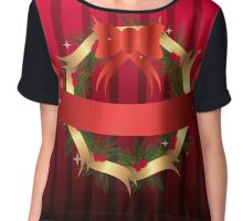 Christmas illustration with wreath and red ribbon on stripped background Chiffon Top