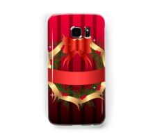 Christmas illustration with wreath and red ribbon on stripped background Samsung Galaxy Case/Skin