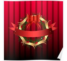 Christmas illustration with wreath and red ribbon on stripped background Poster