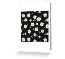 Spoon flowers,white,green,on black background, modern,trendy,girly Greeting Card