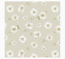 Spoon flowers,white,green,on cream background, modern,trendy,girly One Piece - Short Sleeve
