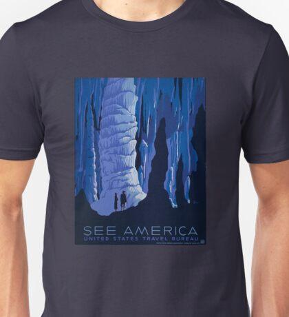 See America - United States Travel Bureau Blue Caverns Vintage WPA Poster Unisex T-Shirt