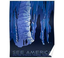 See America - United States Travel Bureau Blue Caverns Vintage WPA Poster Poster