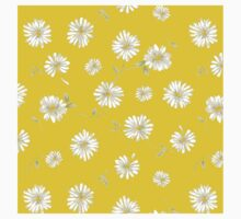 Spoon flowers,white,green,on yellow background, modern,trendy,girly One Piece - Short Sleeve