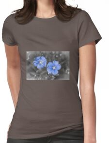Gentle Blue Flower Womens Fitted T-Shirt