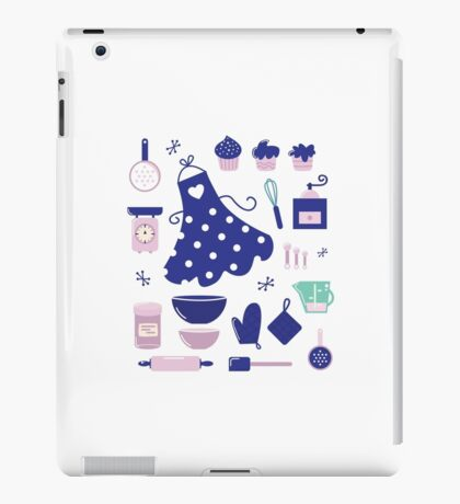 New! Stylish deep blue folk Art for kitchen iPad Case/Skin