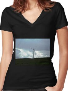 Windmill in Donegal, Republic of Ireland Women's Fitted V-Neck T-Shirt