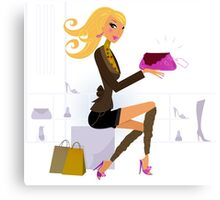Shopping gold hair girl : New in shop Canvas Print