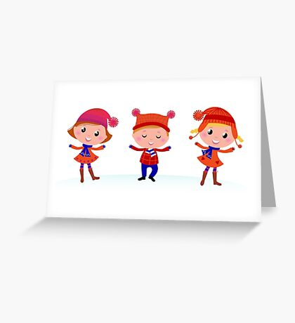 New in kids shop : Original kids artworks / blue red Greeting Card