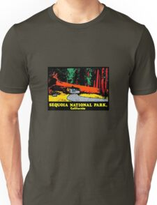 Sequoia National Park Drive Thru Tree Vintage Travel Decal Unisex T-Shirt