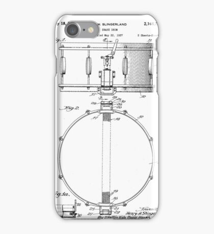 Snare Drum by H.H. Slingerland Circa 1937 Patent Drawing Design iPhone Case/Skin