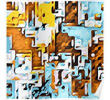 brown yellow and blue drawing abstract Poster