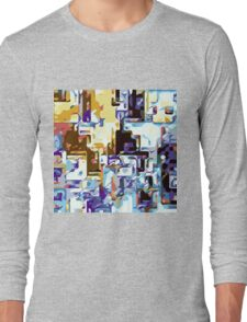 brown pink yellow blue and purple abstract Long Sleeve T-Shirt