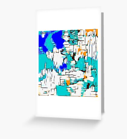 blue green and orange drawing abstract  Greeting Card