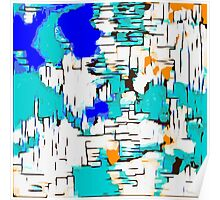 blue green and orange drawing abstract  Poster