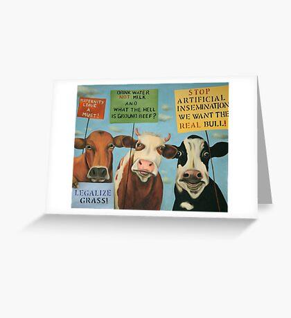 Cows On Strike Greeting Card