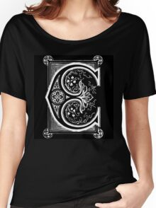 Old print ornament letter E Women's Relaxed Fit T-Shirt
