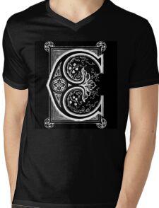 Old print ornament letter E Mens V-Neck T-Shirt