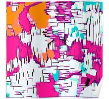pink orange and green drawing abstract  Poster