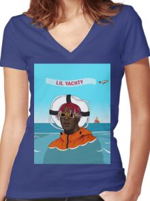 Lil Yachty in ocean Lil Boat Women's Fitted V-Neck T-Shirt