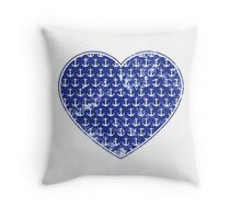 Distressed Vintage Nautical Anchors Pattern Heart Throw Pillow