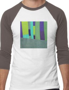 Green and Purple Fabric Art Men's Baseball ¾ T-Shirt