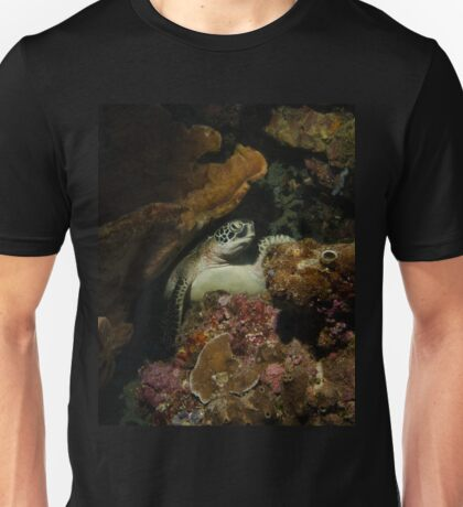 A Green Turtle Snoozes on the Reef Unisex T-Shirt