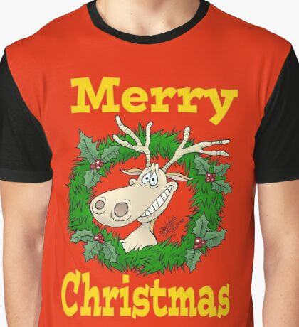 Reindeer in a Christmas reef. Graphic T-Shirt