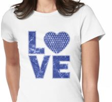 Nautical Vintage Distressed Anchor Pattern Love Heart Womens Fitted T-Shirt