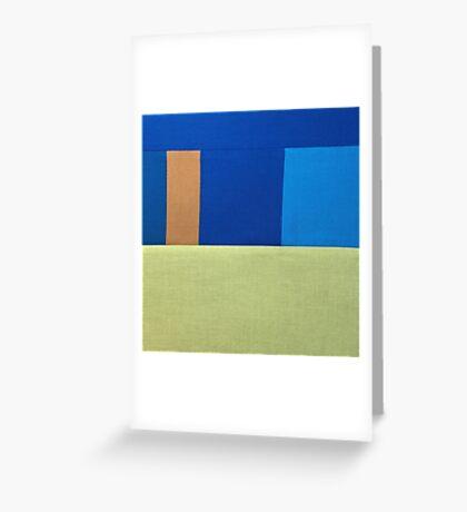 Blue Square Fabric Art Greeting Card
