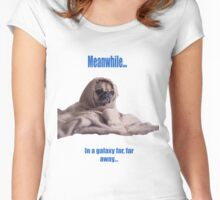 Pug in a robe blue captions Women's Fitted Scoop T-Shirt