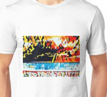 orange blue red yellow and black abstract Unisex T-Shirt