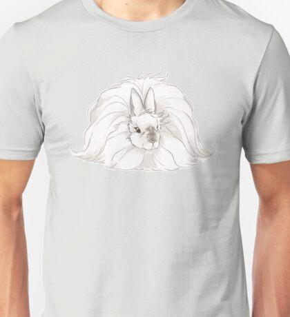 French Angora Rabbit - Chocolate Pearl with Grey Background | show rabbit champion natural fiber bunny arba breed wool Unisex T-Shirt
