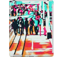 group of people walking with the wooden walkway iPad Case/Skin
