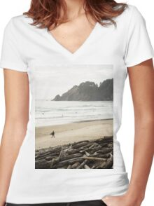 Pacific Northwest Surfer Women's Fitted V-Neck T-Shirt