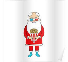 Santa Claus with popcorn and 3D glasses Poster