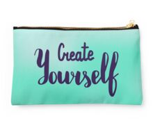 Create yourself. Text on blur light cyan background. Studio Pouch