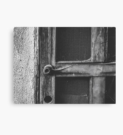 old vintage wooden door in black and white Canvas Print