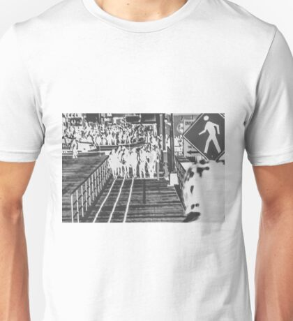 crowded on the wooden walkway in black and white Unisex T-Shirt