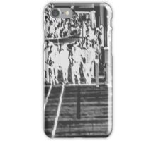 crowded on the wooden walkway in black and white iPhone Case/Skin