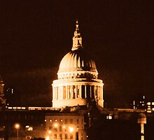 St Paul's Cathedral in Sepia & Dry Brush Effect by NataliePaskell