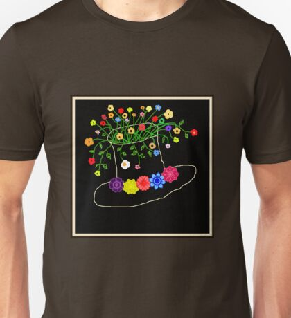 Hat Filled with Flowers - on Red Unisex T-Shirt