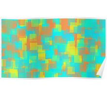 green blue yellow and orange square pattern Poster