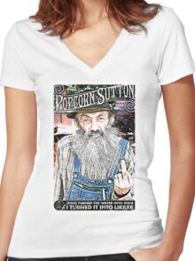 Moonshine Popcorn Sutton  Women's Fitted V-Neck T-Shirt