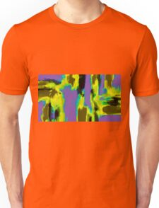 yellow green blue and black painting abstract Unisex T-Shirt