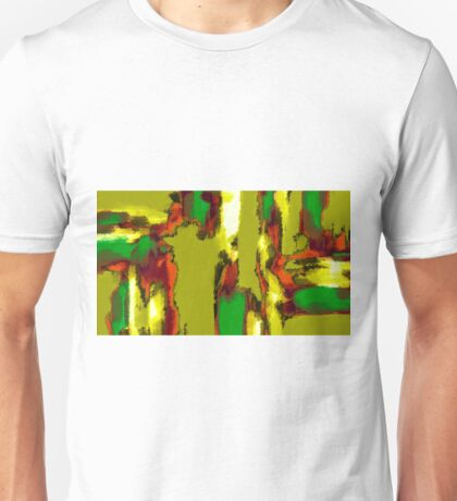 green red orange black and yellow painting abstract Unisex T-Shirt