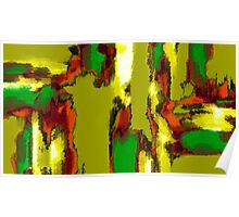green red orange black and yellow painting abstract Poster
