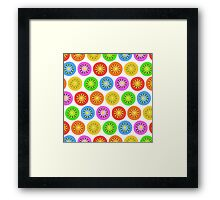 Funny Colorful Abstract Flower Pattern Framed Print