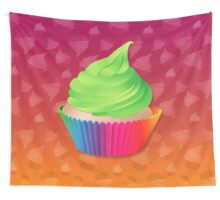 Cute Green Frosted Vanilla Cupcake in Rainbow Cup Wall Tapestry