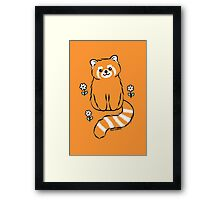 Red Panda with White Flowers Framed Print